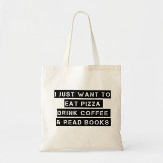 ピザ、コーヒーおよび本 トートバッグ