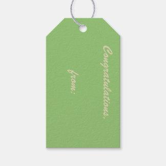 ピスタシオ色のお祝い(金ゴールドの原稿) ギフトタグパック