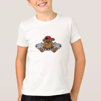 ピストルを持つギャングのブルドッグ Tシャツ