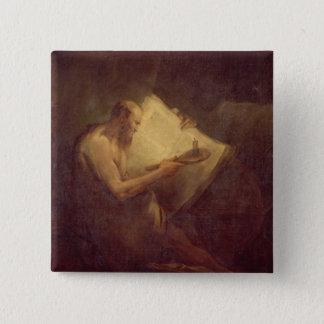 ピタゴラス(紀元前の6世紀) (キャンバスの油) 5.1CM 正方形バッジ