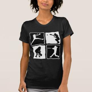ピッチャー、キャッチャー、ねり粉、外野手、B&Wx4 Tシャツ
