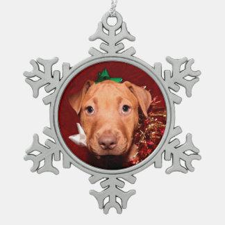 ピットブルの子犬のクリスマス スノーフレークピューターオーナメント