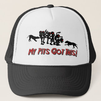ピットブル対ゾンビのおもしろいなロゴのデザインの帽子 キャップ