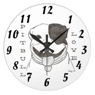 ピットブル愛時計 ラージ壁時計