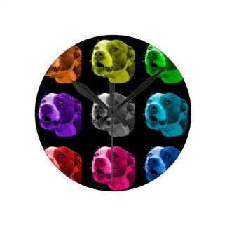 ピットブル犬のポップアート7769のBB ラウンド壁時計