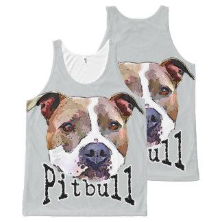 ピットブル犬 オールオーバープリントタンクトップ