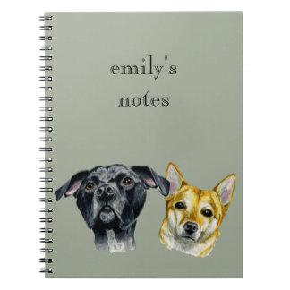 ピット・ブルおよび柴犬の水彩画のポートレート ノートブック