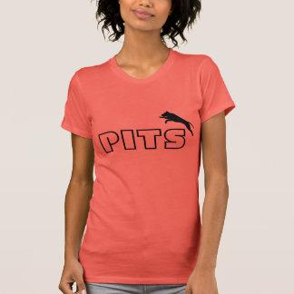 ピット・ブルのシルエットの不足分の袖のティーはピットを促進します Tシャツ