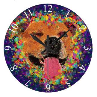 ピット・ブルの幸せなポップアート ラージ壁時計