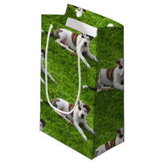 ピット・ブルのT骨の子犬 スモールペーパーバッグ