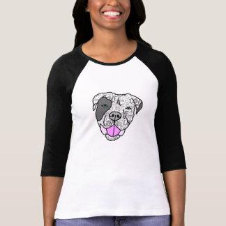 ピット・ブル愛グラフィック3/4の袖のTシャツ Tシャツ