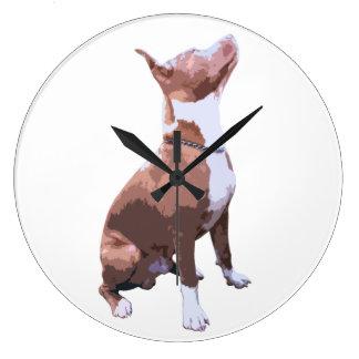 ピット・ブル粋な茶色および白い犬 ラージ壁時計