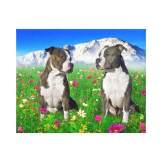 ピット・ブルBrindle及び青い(犬)スタッフォード及び犬 キャンバスプリント