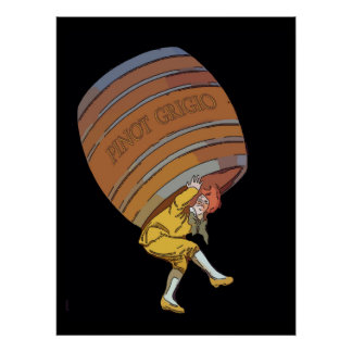 ピノー種の葡萄Grigioのワインバレル ポスター