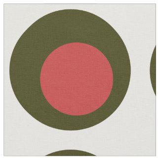 ピメントを持つ大きい水玉模様パターン/グリーンオリーブ ファブリック