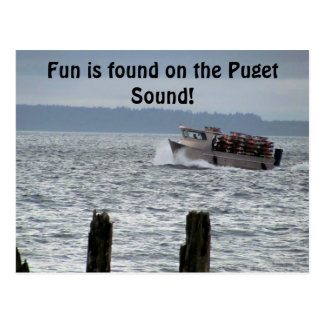ピュージェットサウンドのカニのボートシアトルワシントン州 ポストカード