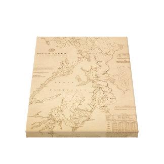 ピュージェットサウンドの旧式な地図 キャンバスプリント