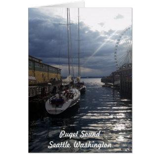 ピュージェットサウンドの水辺地帯のシアトルワシントン州カード カード