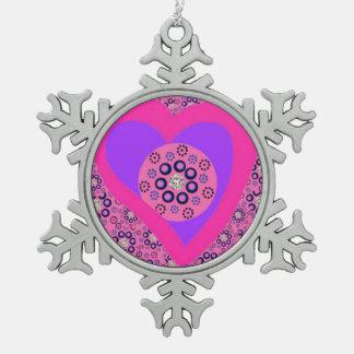 ピューターの木のオーナメントのピンクのハートのダイヤモンド スノーフレークピューターオーナメント