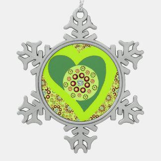ピューターの木のオーナメントの緑のハートのダイヤモンド スノーフレークピューターオーナメント