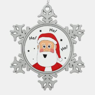 ピューターHo! Ho! Ho! サンタのクリスマスの木のオーナメント スノーフレークピューターオーナメント