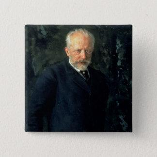 ピョートルIlyich Tchaikovskyのポートレート 5.1cm 正方形バッジ