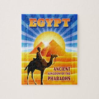 ピラミッドのエジプト旅行絵上の日没 ジグソーパズル