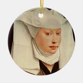 ピンで止められた帽子の若い女性のポートレート、c.1435 セラミックオーナメント