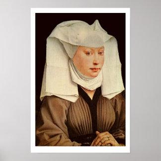 ピンで止められた帽子の若い女性のポートレート、c.1435 ポスター