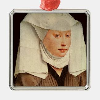 ピンで止められた帽子の若い女性のポートレート、c.1435 メタルオーナメント