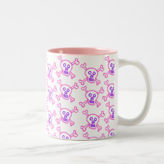 ピンクおよびすみれ色のどくろ印 ツートーンマグカップ