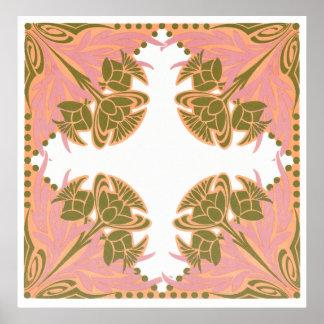 ピンクおよびオリーブ色の花柄 ポスター