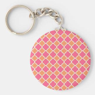 ピンクおよびオレンジアーガイル柄のなダイヤモンドのタイルパターンギフト キーホルダー