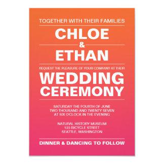 ピンクおよびオレンジグラデーションな結婚式 カード