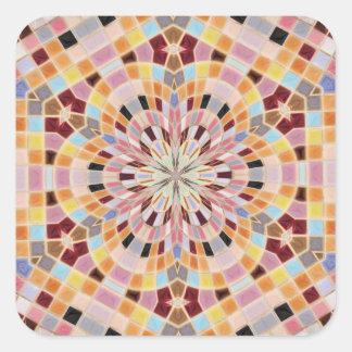 ピンクおよびオレンジモザイク万華鏡のように千変万化するパターン 正方形シール・ステッカー