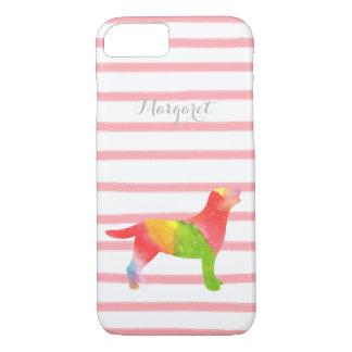 ピンクおよびオレンジ水彩画のラブラドールの輪郭の箱 iPhone 7ケース