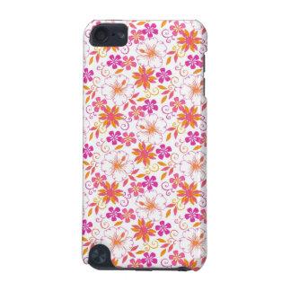 ピンクおよびオレンジ熱帯花模様 iPod TOUCH 5G ケース