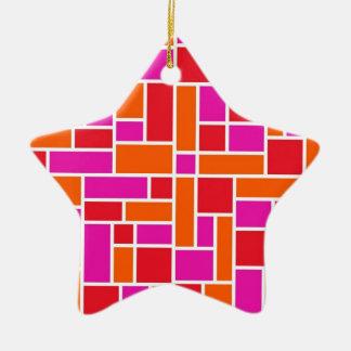 ピンクおよびオレンジ色のブロック セラミックオーナメント