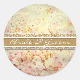 ピンクおよびカラメルのタンのペチュニアの結婚式のシール 丸型シール