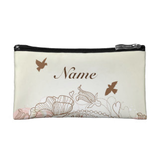 ピンクおよびタンの花の名前入りなクラッチ コスメティックバッグ