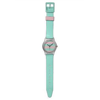 ピンクおよびターコイズのストライプのなMay28プラスチック腕時計 腕時計