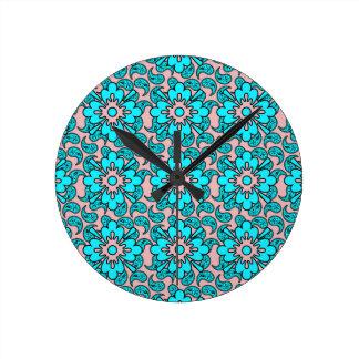 ピンクおよびターコイズのペイズリーパターン柱時計 ラウンド壁時計