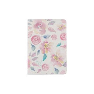 ピンクおよびターコイズの花柄パターン パスポートカバー