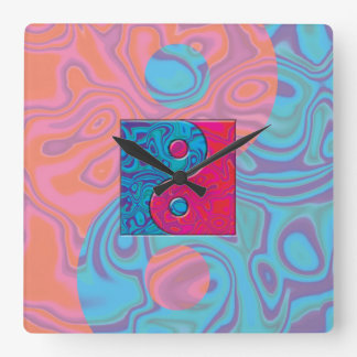 ピンクおよびターコイズの陰陽の記号 スクエア壁時計