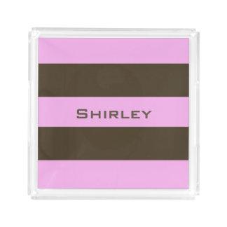 ピンクおよびチョコレート色の広い縞で飾ります アクリルトレー