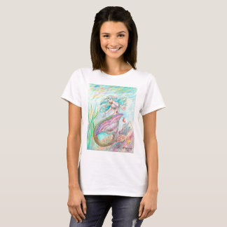 ピンクおよびティール(緑がかった色)の人魚 Tシャツ