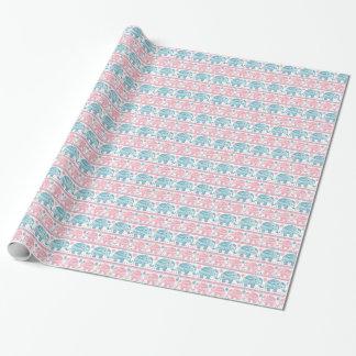 ピンクおよびティール(緑がかった色)民族象パターン 包装紙
