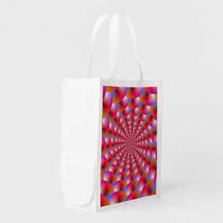 ピンクおよびバイオレットの球の買い物袋の螺線形 エコバッグ