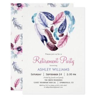 ピンクおよびバイオレット退職パーティーに羽をつけます カード