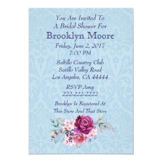 ピンクおよびバーガンディの花花束のブライダルシャワー カード